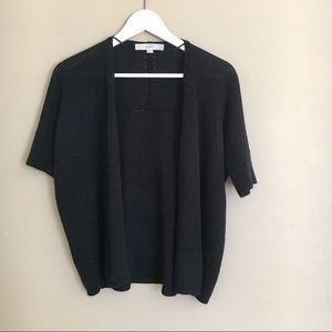 LOFT•Black Short Sleeve Open Cardigan Sweater